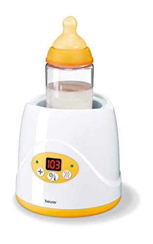 Beurer Baby Bottle Warmer & Food Warmer, BY52 | Portable 2-in-1 Heater with Keep Warm Function for Breast-Milk, Formula & Food | AVENT & NUK Bottles | with Lifter, LED Display, Safety Switch-Off & Cap