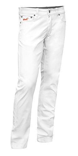 Bundhose Stretch Milano YKK 5-Pocket-Jeans Style Baumwolle 260 gm - Arzthose Sommerhose Pflegedienst Zahnarzt Praxishose Weiße Herren Hose Made in EU - Größe: 42