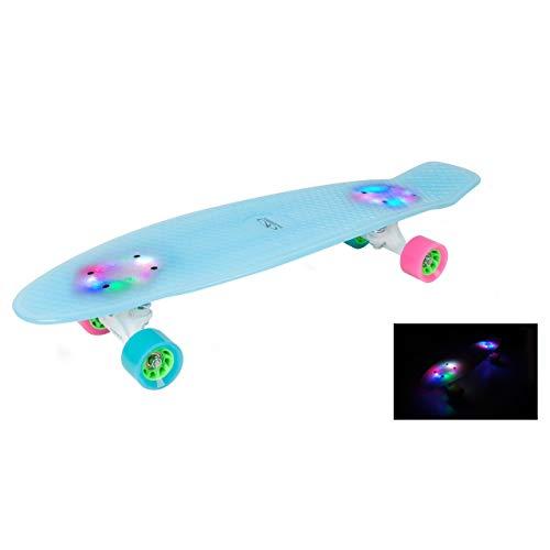 HUDORA Skateboard Retro Iceglow 27 Zoll, LED beleuchtet -Skateboarding, 12144