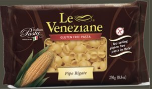 Le Veneziane - Italian Pipe Rigate Pasta [Gluten-Free], (4)- 8.8 oz. Pkgs