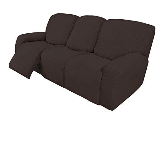 ZHTY 8-teilige Liege-Sofabezüge Sofa-Stretch-Liege-Sofabezüge für 3-Kissen-Sofabezüge Möbelbezüge mit elastischem Boden Dicker, weicher, waschbarer Sofabezug