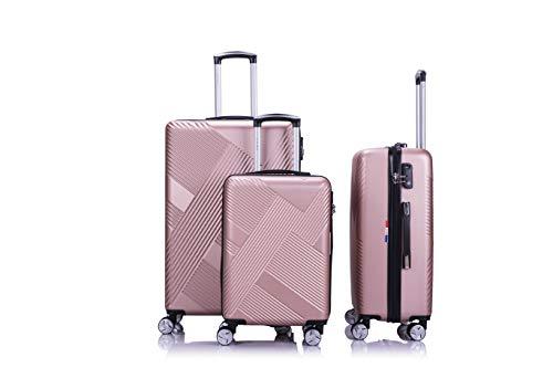 LYS - Set de 3 Valises Rigide ABS Trolley 4 Roues doublées 55-65-75 cm Ultra léger Bagage à Roulette pour Ryanair, Easyjet, Lufthansa etc