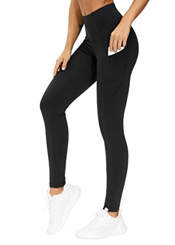 THE GYM PEOPLE Thick High Waist Yoga Pants with Pockets, Tummy Control Workout Running Yoga Leggings for Women (XX-Large, Black)