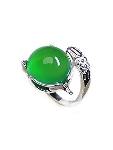 yigedan Anillos de zorro de plata de ley S925 con piedras preciosas de jade verde natural para mujer