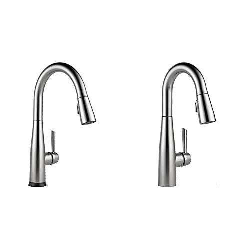 Delta Faucet Essa Single-Handle Touch Kitchen Sink Faucet & Faucet Essa Single-Handle Bar-Prep Kitchen Sink Faucet with Pull Down Sprayer and Magnetic Docking Spray Head, Arctic Stainless 9913-AR-DST
