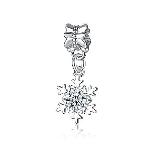 LILANG Pulsera de joyería Pandora 925 Colgante de Copo de Nieve de Plata esterlina Natural, Flor Transparente en Forma de Marca, Encanto de Moda para Mujeres, Regalos DIY