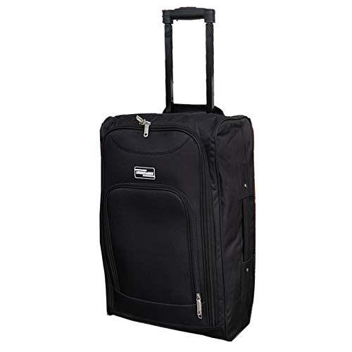Lightweight Wheeled Cabin Bags, Hand Luggage Trolley Approved for Ryanair, EasyJet, British Airways, Jet2 and More (1 x Plain Black)