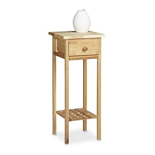 Relaxdays mesa para flores/puerta de flores, madera de nogal, con cajón mesa teléfono, con las...