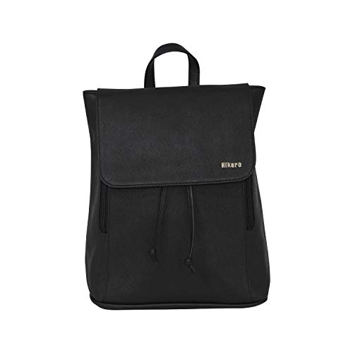 Amazon Brand - Hikaro Women PU Leather Laptop Backpack Casual Lightweight Fashion Backpack Rucksack Daypack for Women, Girl, Teenager - Black