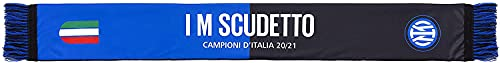 Sciarpa Ufficiale Inter. Modello 2021. Prodotto su licenza ufficiale F.C. Internazionale. 100% Poliestere. Modello I'm Scudetto Bicolore.