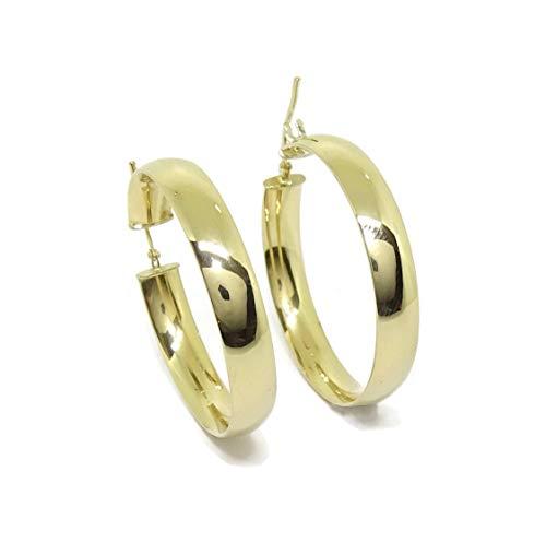 Orecchini, anelle grandi, in oro giallo 18carati, 6 mm di larghezza e 3,4 cm di diametro esterno Peso: 4,90 g di oro 18 kt. Facile chiusura a scatto.