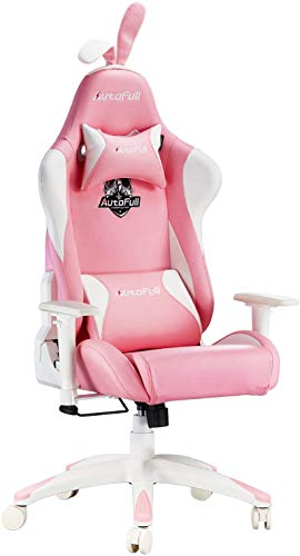 AutoFull Pink Gaming Chair PU Leather High Back Ergonomic Racing Office Desk Computer Chairs with Lumbar Support, Rabbit Ears