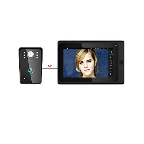 HL 7inch Timbre Intercom, WiFi IP Video Portero Sistema de Entrada con 1000TVL con Cable cámara visión Nocturna, Apoyo Remoto aplicación de desbloqueo, grabación, Alarma, instantánea