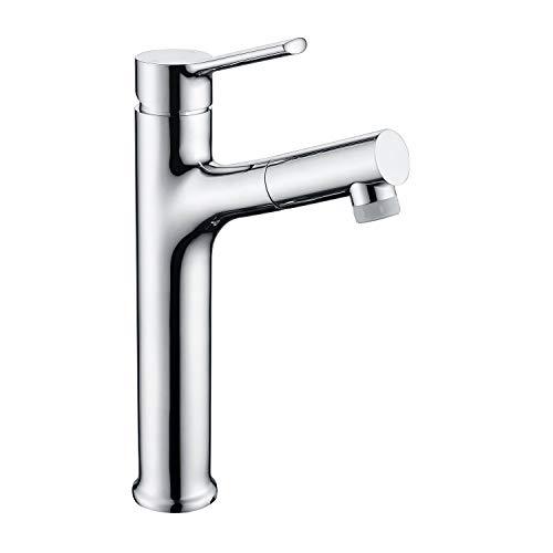 CREA Alto Grifo monomando para lavabo de baño extraíble / abatible con una sola palanca, cromo pulido, con cabezal de ducha extensible, Pulimento de Latón Cromado