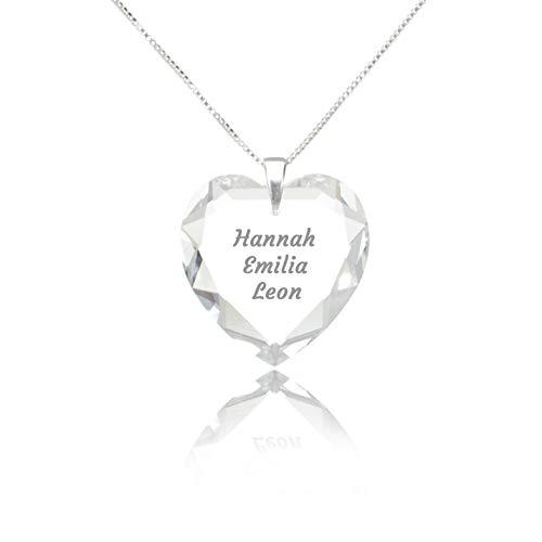 Herzkette 925 Sterling Silber mit SWAROVSKI ELEMENTS Herz Crystal Gravur Anhänger Namenskette mit Wunschnamen. …