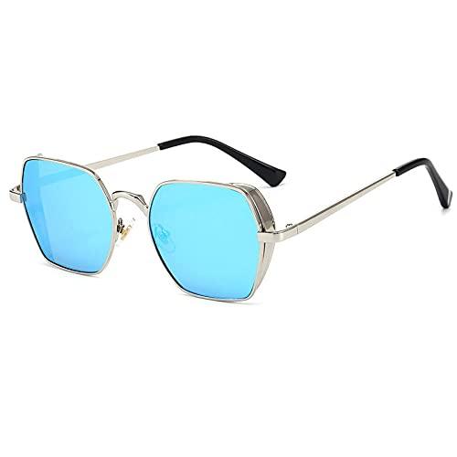 XDOUBAO Gafas Steampunk Retro Gafas de sol Tinta Espejo Tendencia Metal Gafas-Plata/Azul Ice