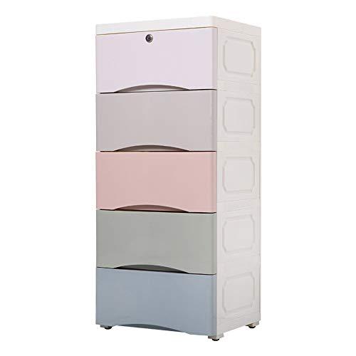 LiChaoWen Plast klädbyrå låda förvaringsskåp för sovrummet barnens lekrum entré plastbyrå för kläder (färg: Färgblandning, storlek: 83 x 32 x 38 cm)