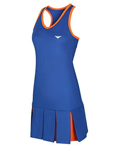 Girls Blue and Orange Tennis Dress; Pleated Tennis Dress; Junior Tennis Dress; Girls Golf Dress; Kids Golf Clothing; Girls Sportswear; Girls Netball Dress; (Blue, 6-7 Years)
