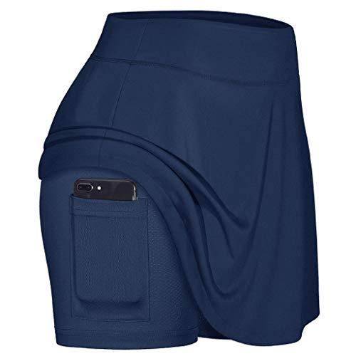 Falda de tenis para mujer, pantalones cortos elásticos interiores con bolsillos de...