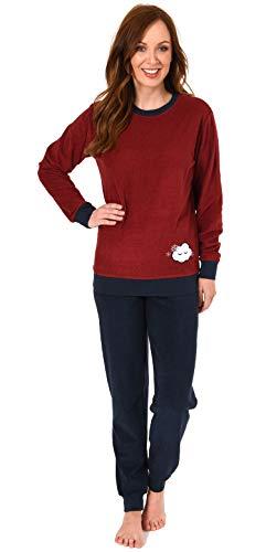 Damen Frottee Pyjama Langarm Schlafanzug mit Bündchen und süsser Applikation - 201 13 565, Farbe:rot, Größe2:44/46