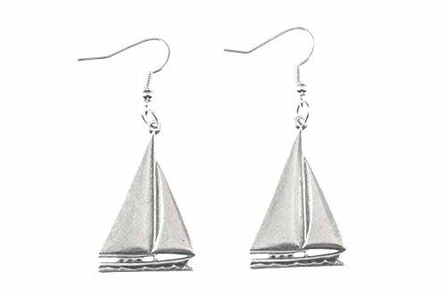Miniblings velero 4cm barco barco de vela barco de vela pendientes de plata marítimo - Me pendientes joyería hecha a mano de la moda pendientes de plata