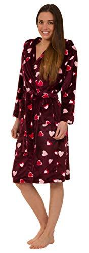 Florentina Morbida Vestaglia da Donna in Pile con Cappuccio - Design di Cuori (L)