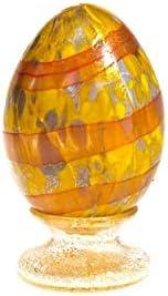 YourMurano - Huevo de cristal de Murano, color amarillo y naranja