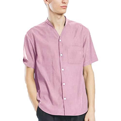 Herren T-Shirt einfarbig Revers Kurzarm-Shirt lässig Sommer Muster Kurzarm Jugend Sport Bequeme Fitness-Shirt