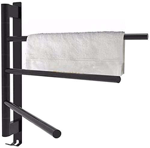 WNN-URG Toalla de toalla giratoria de 3 barras, rieles de toalla de acero inoxidable de 500 * 400 mm de acero inoxidable 304 (cable de alimentación oculto + interruptor de botón de empuje), ideal para