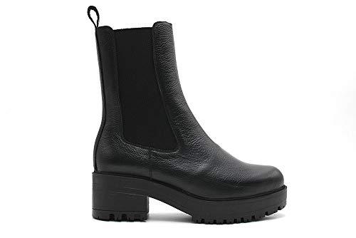 Wonders - Lederstiefel mit Absatz mit Gummisohle für: Damen., Schwarz - Schwarz - Größe: 41 EU