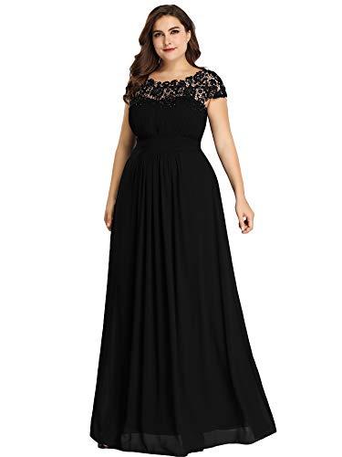 Ever-Pretty Vestiti da CocktailDonna Linea ad A Elegante Stile Impero Chiffon Abiti da Damigella d'Onore Nero 44