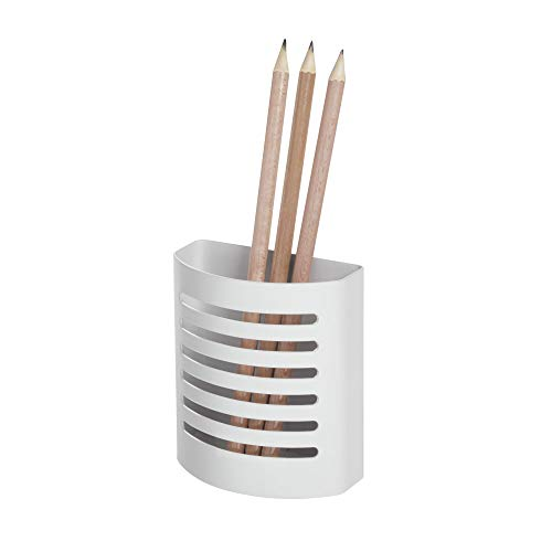 iDesign Forma Magnetic Modern Pen and Pencil Holder, Writing Utensil Storage Organizer for Kitchen, Locker, Home, or Office, Set of 1, Matte White