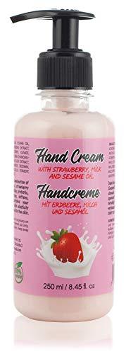100% natürliche Handcreme für rissige trockene Hände für Männer und Frauen. Mit Erdbeere, Milch und Sesamöl. Frei von Parabenen und Grausamkeiten, 250 ml.