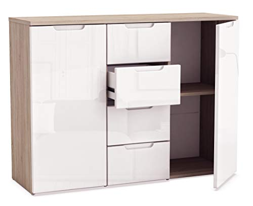 Miroytengo Aparador para salón Comedor barato con 4 cajones y 2 armarios en Color Blanco Brillo y Roble cajones con guías metálicas