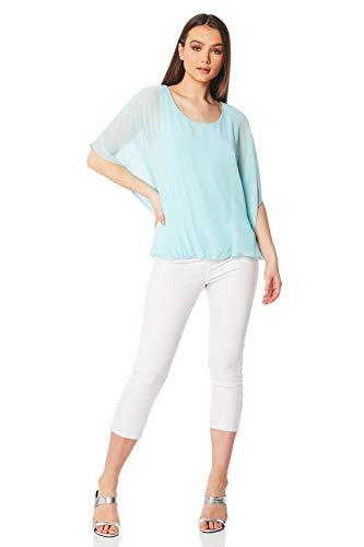 Roman Originals dames korte mouwen top met ballon zoom - dames blouses, tops, ronde hals, vleermuismouwen, elegant, formele en avonds, kantoor, ideeëngesprek, gemakkelijk
