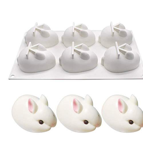 Molde de silicona con 6 agujeros para tartas de conejo de Pascua para mousses helados, pasteles de queso, postre francés, bricolaje, molde 3D para hornear cupcakes Conejo de Pascua con 6 agujeros.