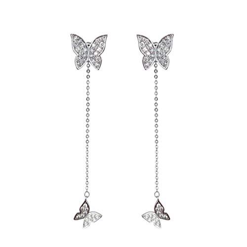 Mypace 925 Silber Gold Set Creolen hängende Ohrringe Für Damen Lange einfache Art und Weise silberne Größe Schmetterlings-Diamant-Ohrring-Damen-Schmuck