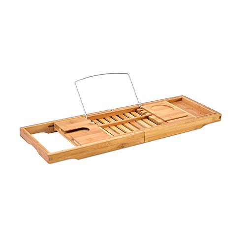 LIUzyuang Bandeja de bañera de bañera Extensible Bañera De Bambú Rack Multifuncional Almacenamiento Titular Titular De Teléfono Móvil Aseo Estantería De Baño Retractable Bandeja para Bañera