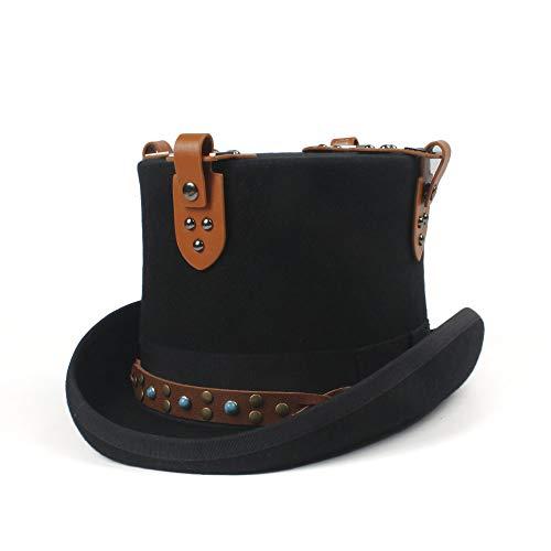 Yangxz Fieltro de Lana Negro Steampunk Cadena Top Hat DIY Boda Sombrero...