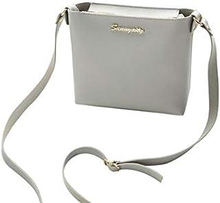 YKDY Shoulder Bag Women Solid Zipper Shoulder Bag Crossbody Bag Messenger Phone Coin Bag(Black) (Color : Gray)