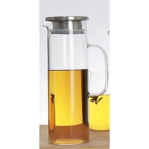 PPuujia Jarra de agua de vidrio de 1/1.2/1.5 l, botella de agua fría, transparente, resistente al calor, jarra con mango y tapa (capacidad: 1 L, color: tapa de acero inoxidable)