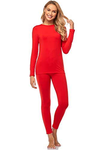 Malist Women's Thermal Underwear Ultra Soft Long Johns Top with Fleece Lined Set Red XX-Large