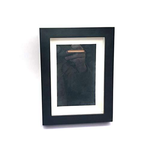 Marco de fotos de vidrio de alta definición de madera maciza de 8 x 6 para fotos de medalla de escritorio y pared (colgado/vertical) caja de memoria (negro)