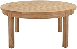 Hawthorne Collections Outdoor Teak Round Coffee Table in Natural