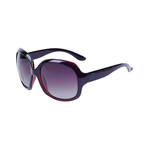 QIXU Gafas de Sol Polarizadas Mujer Oversized Marrón Protección UV400 Grandes de...