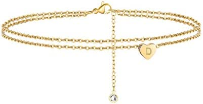 Turandoss Tiny Initial Ankle Bracelets for Women 14K Gold Filled Dainty Heart Initial Ankle product image