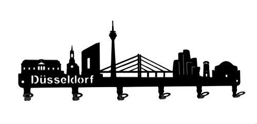 steelprint.de Wandgarderobe - Skyline Düsseldorf - Flurgarderobe - Nordrhein-Westfalen NRW - Kleiderhaken, Hakenleiste, Garderobeneiste, Garderobenhalter, Garderobe - Metall, schwarz