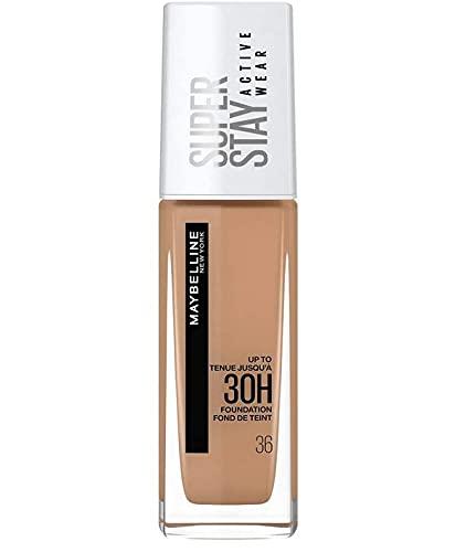 Maybelline New York, Base de maquillaje Superstay Active Wear 30H, Larga duración, Waterproof, Alta cobertura, Acabado mate, Tono 36 Warm Sun, 30 ml