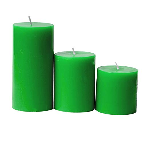 ARIJA Tea Tree Scented Pillar Candle - Handmade Paraffin Wax Set of 3 Round Pillar Candle for Home décor, Spa Candles, Christmas & Special Occasions - Gorgeous Green - Size 3x3, 3x4, 3x6