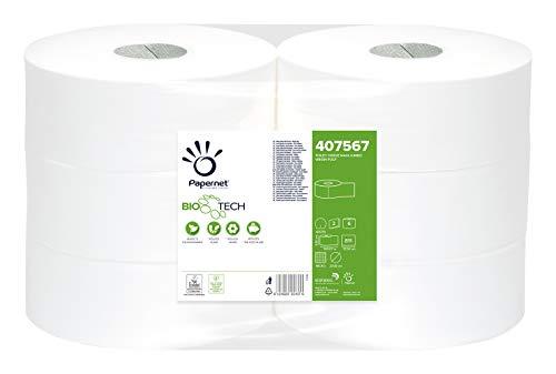 Papernet 407567 Biotech toiletpapier Maxi Jumbo, pure cellulose, micro-reliëf, wit, 6 stuks
